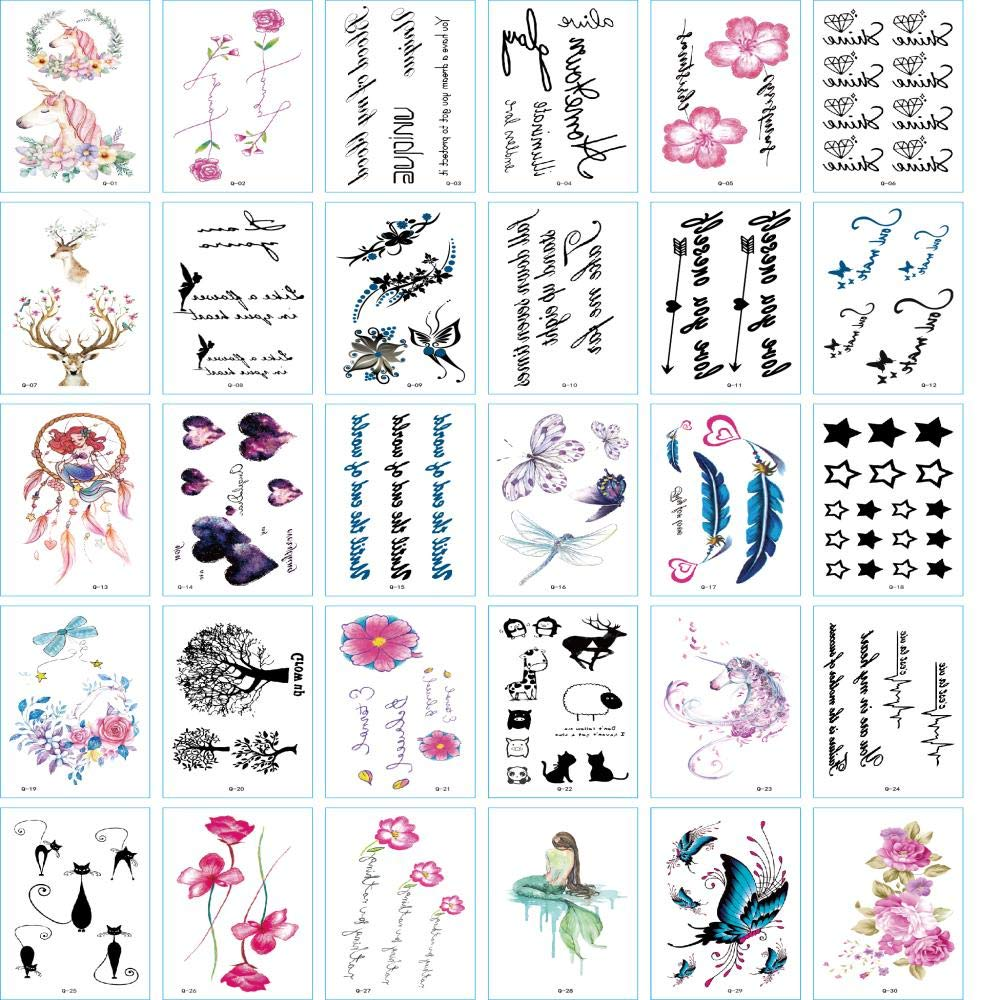 MINEMINEMI Temporary Tattoos for Women - Rose Feather Animals Written Words Flowers and Butterfly Body Tattoo Stickers Waterproofing 30 Sheets