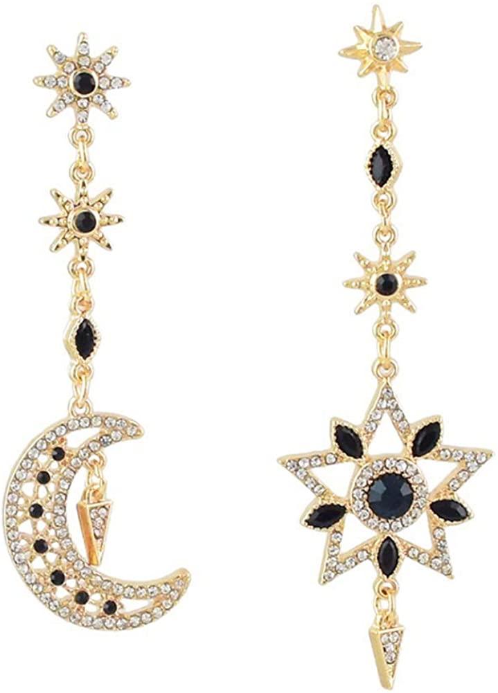 Exaggerated Luxury Sun Moon Stars Drop Earrings Rhinestone Punk Earrings for Women Jewelry Golden Boho Vintage Earrings
