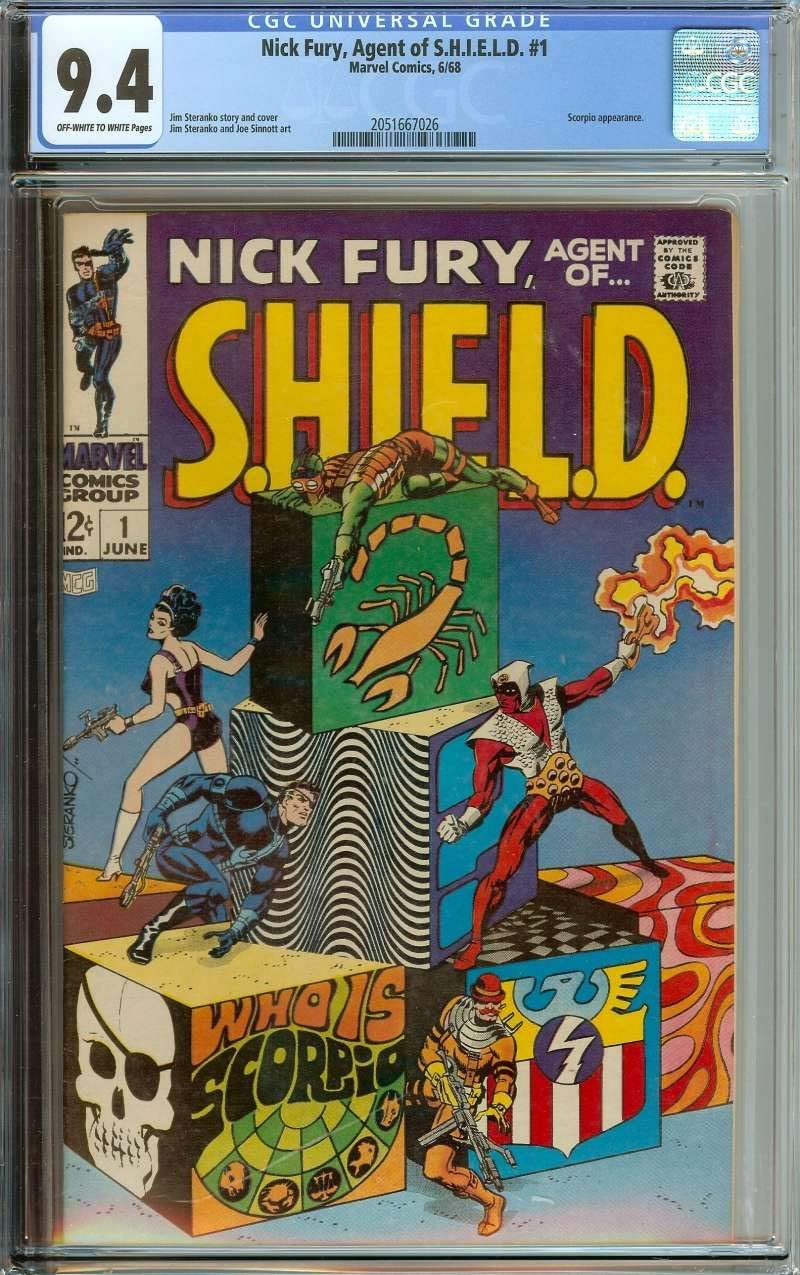 NICK FURY, AGENT OF SHIELD #1 CGC 9.4 OW/WH PAGES