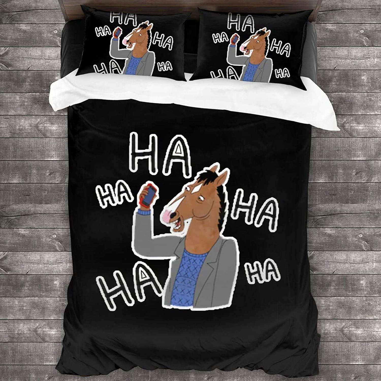 Qbeir Bo-Jack Horse-Man Duvet Cover Bedding Sheet Set, 3 Piece Set Comfortable Luxurious(Duvet Cover + 2 Pillowcases)