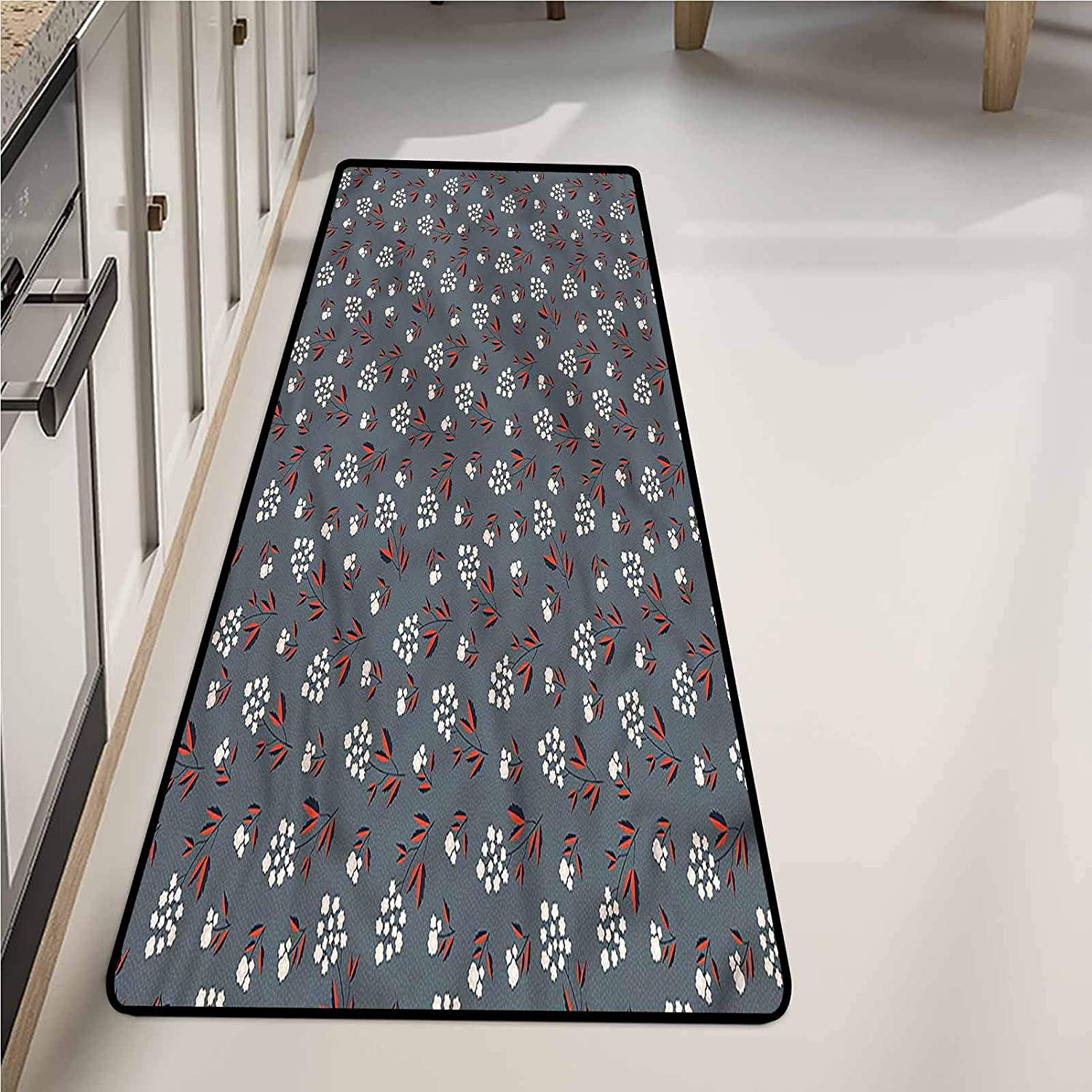 Kitchen Runner Rug 20 x 59 Inch, Floral Japanese Cherry Blooms Washable Area Rugs