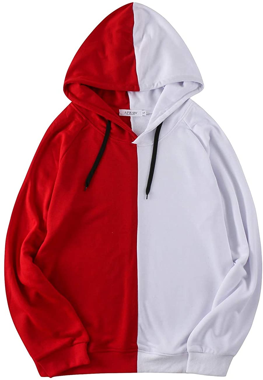 APRAW Mens Novelty Color Block Printed Long Sleeves Pullover Hooded Sweatshirts with Pocket