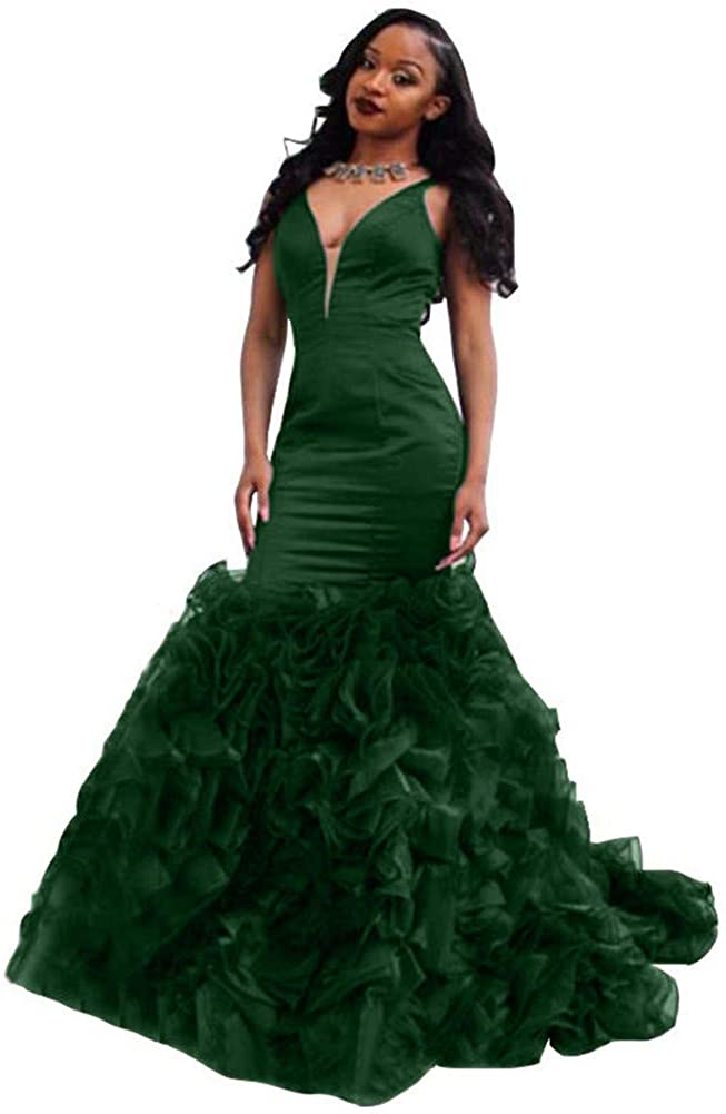 VeraQueen Women's Deep V Neck Arabic Mermaid Prom Dresses Sexy Tiered Backless Evening Party Gowns