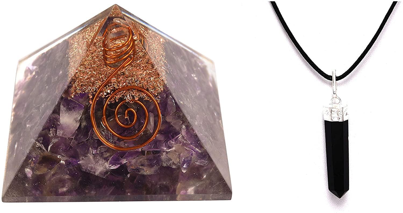 Energy Generator Amethyst Pyramid/Black Tourmaline 6 Sided Pendant for Emf Protection & Healing- Meditation with Nacklace Pendant