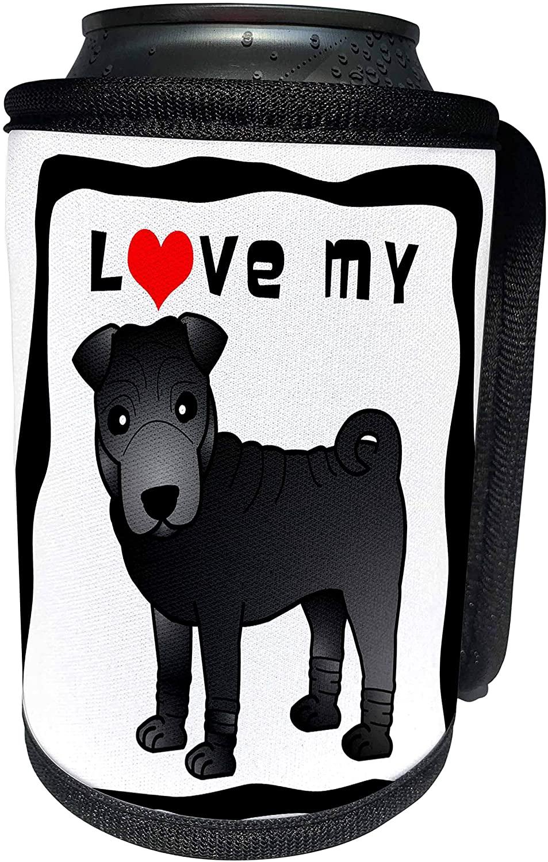 3dRose Janna Salak Designs Dogs - I Love My Chinese Shar Pei - Black Coat - Can Cooler Bottle Wrap (cc_47603_1)