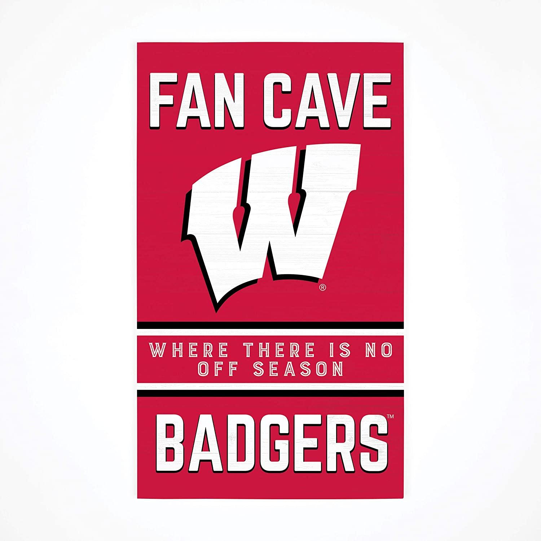 P. Graham Dunn Collegiate Fan Cave University of Wisconsin Madison Badgers NCAA 24 x 14 Birch Wood Pallet Décor Sign