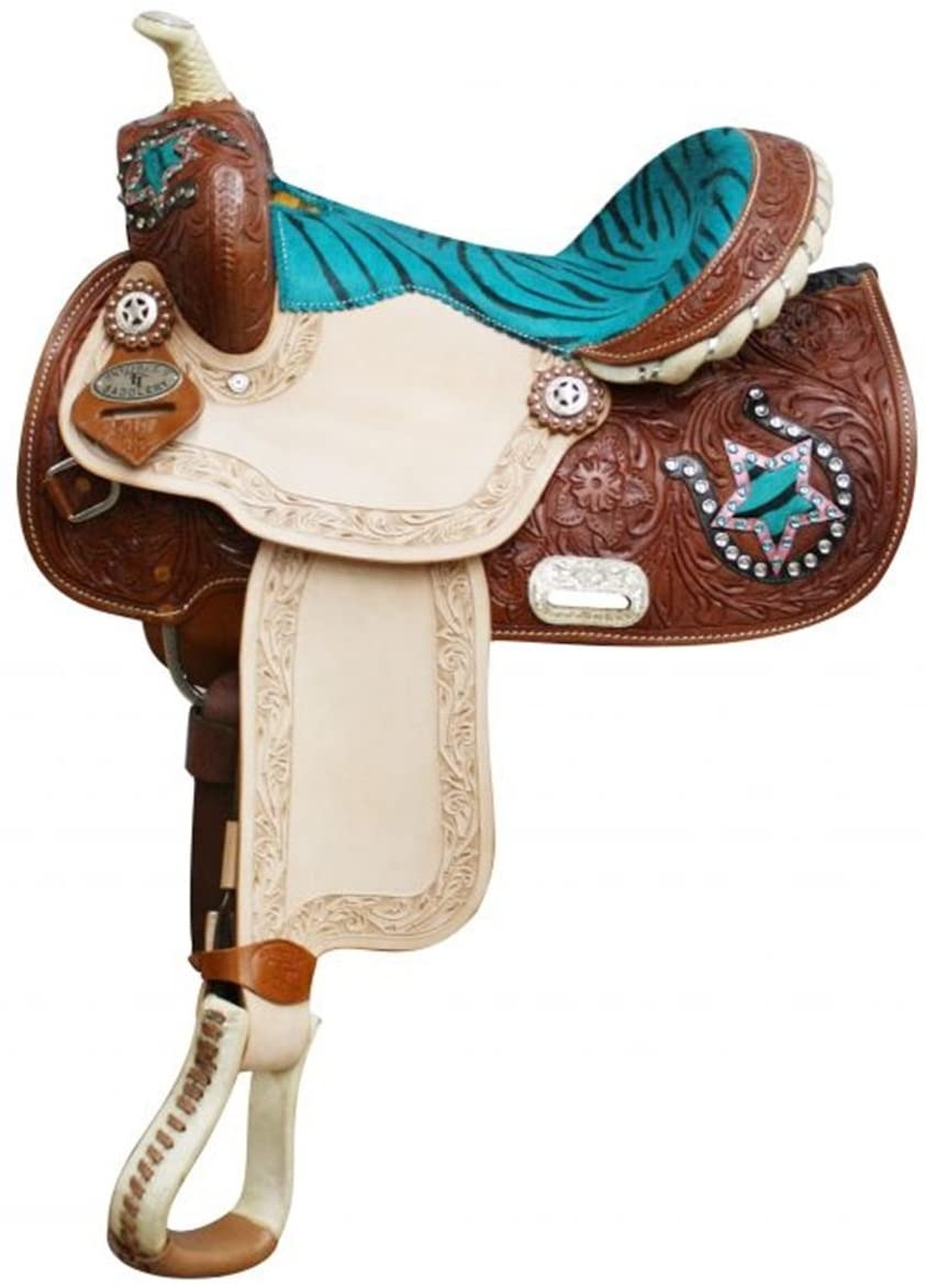 Double T 13 Youth/Pony Saddle with Hair on Zebra Print Seat and Horse Shoe and Star Accents. Semi Quarter Horse Bars