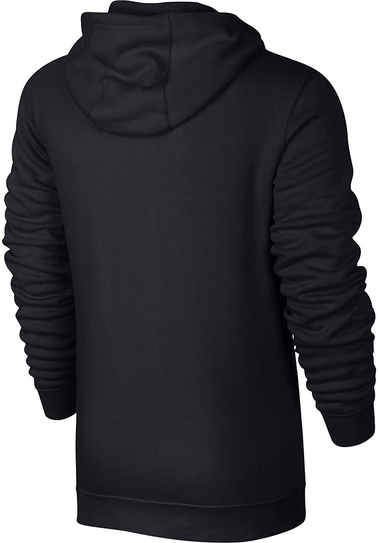 Men's Nike Sportswear Club Full Zip-Up Hoodie, Fleece Hoodie for Men with Paneled Hood, Black/Black/White, 3XL