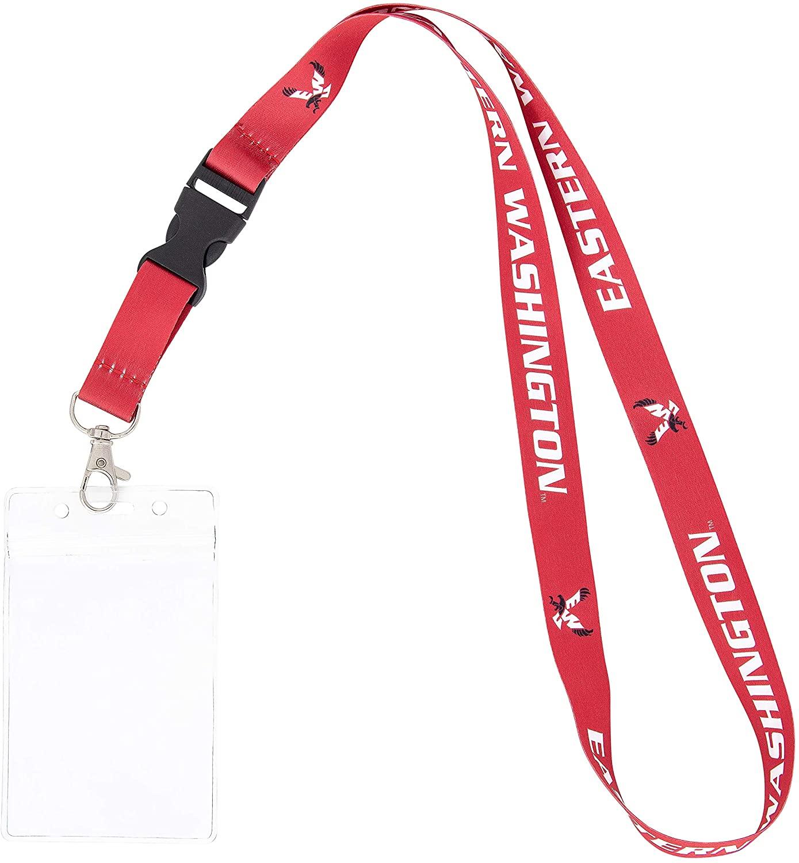 Eastern Washington University EWU Eagles NCAA Car Keys College ID Badge Holder Lanyard Keychain Detachable Breakaway Snap Buckle (w/Pouch)