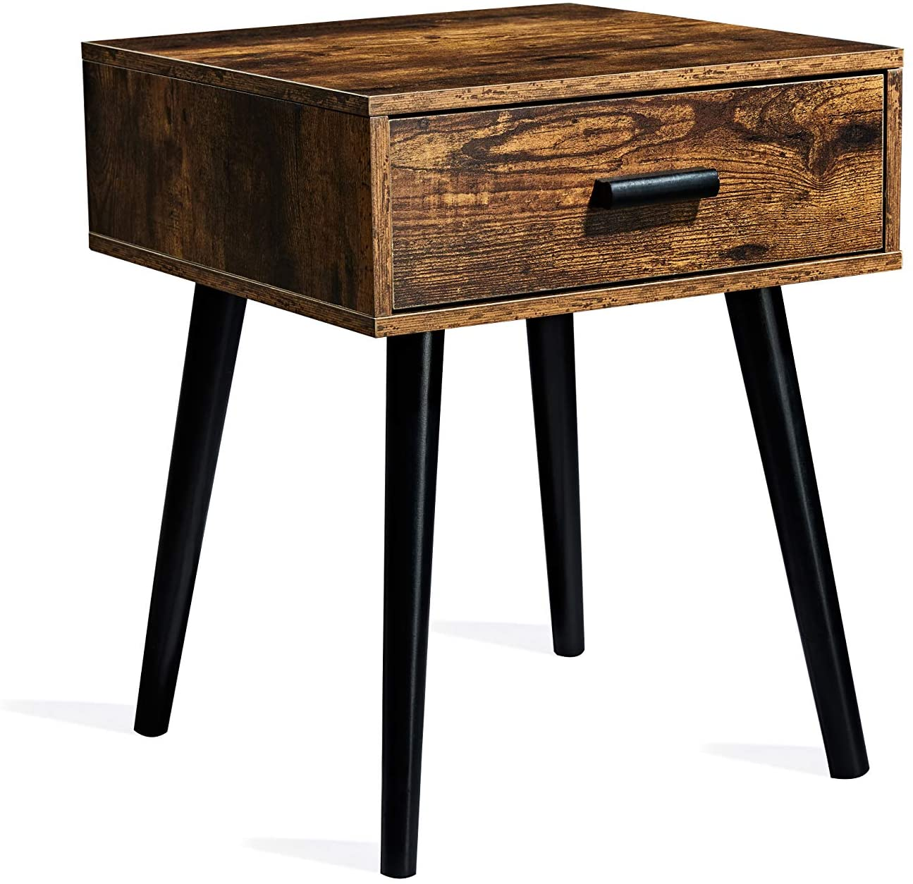 TianLang Nightstand with 1 Drawer,Industrial Side Table,End Table for Living Room,Stable Wooden Legs,Retro Brown LJET001A