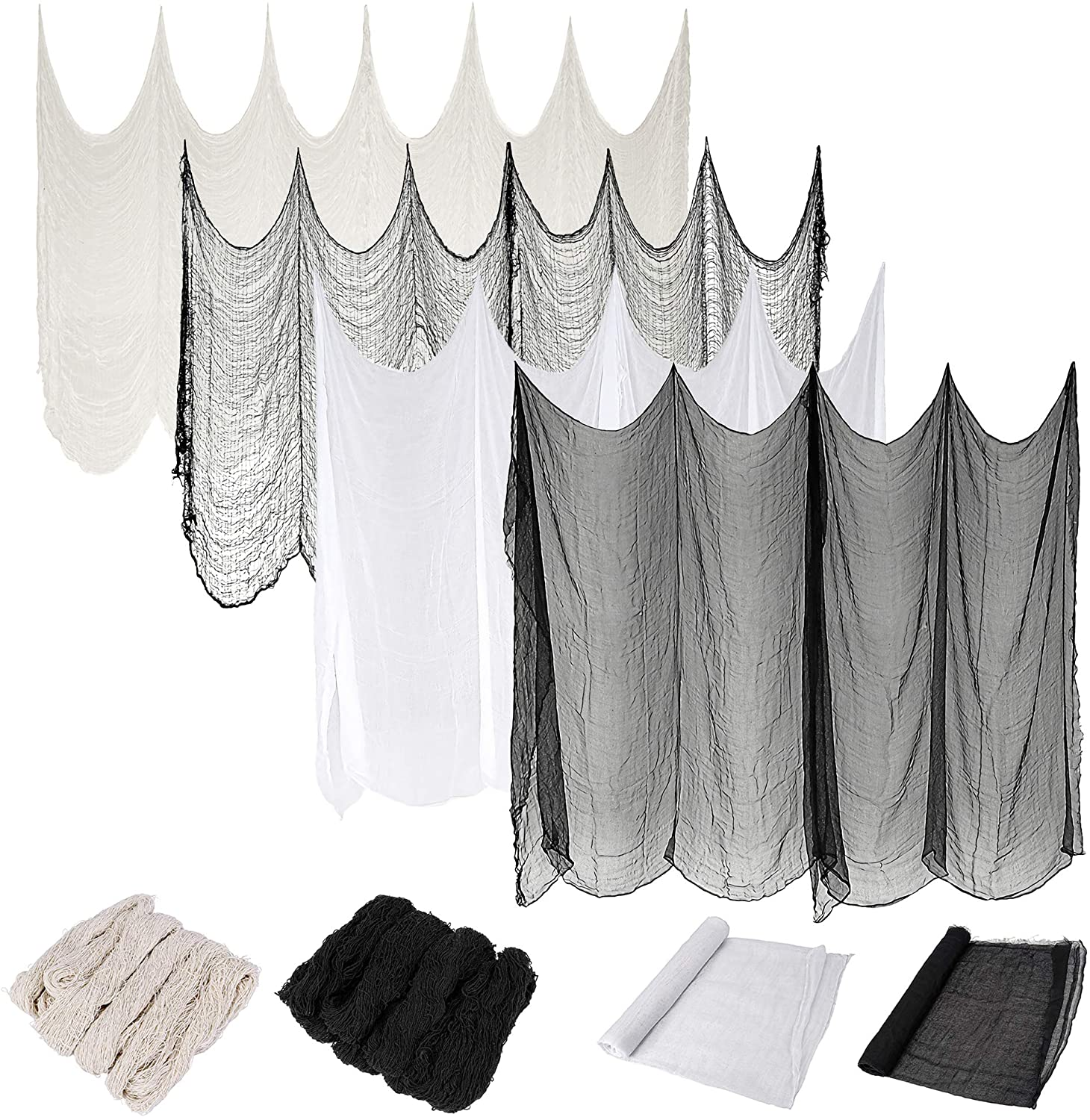 CozyCabin 4PCS Halloween Creepy Cloth Black White Gauze Decoration, 78 x 30 Inch Halloween Scary Spooky Clothes for Windows and Table Cover Stairs Haunted Houses Party Supplies