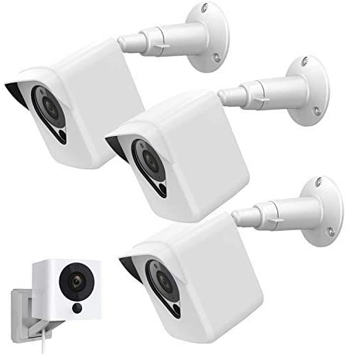 Wyze Cam Camera Wall Mount Bracket,Coolwufan Weather Proof 360 Degree Protective Adjustable Housing Mount and Cover for Wyze Cam V2 V1 and Ismart Spot Camera Indoor Outdoor (White(3 Pack))