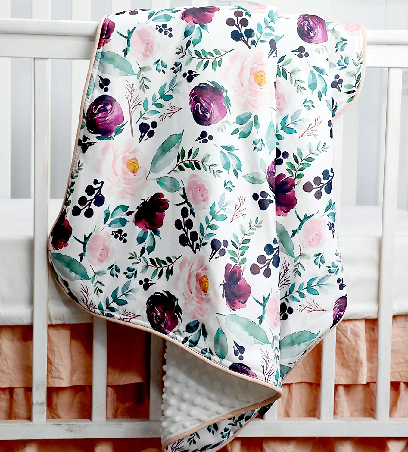 Sahaler Succulents Cactus Floral Baby Minky Blanket Baby Girl Crib Comforter Toddle Quilt 34x42inch (Pink Wine Floral)