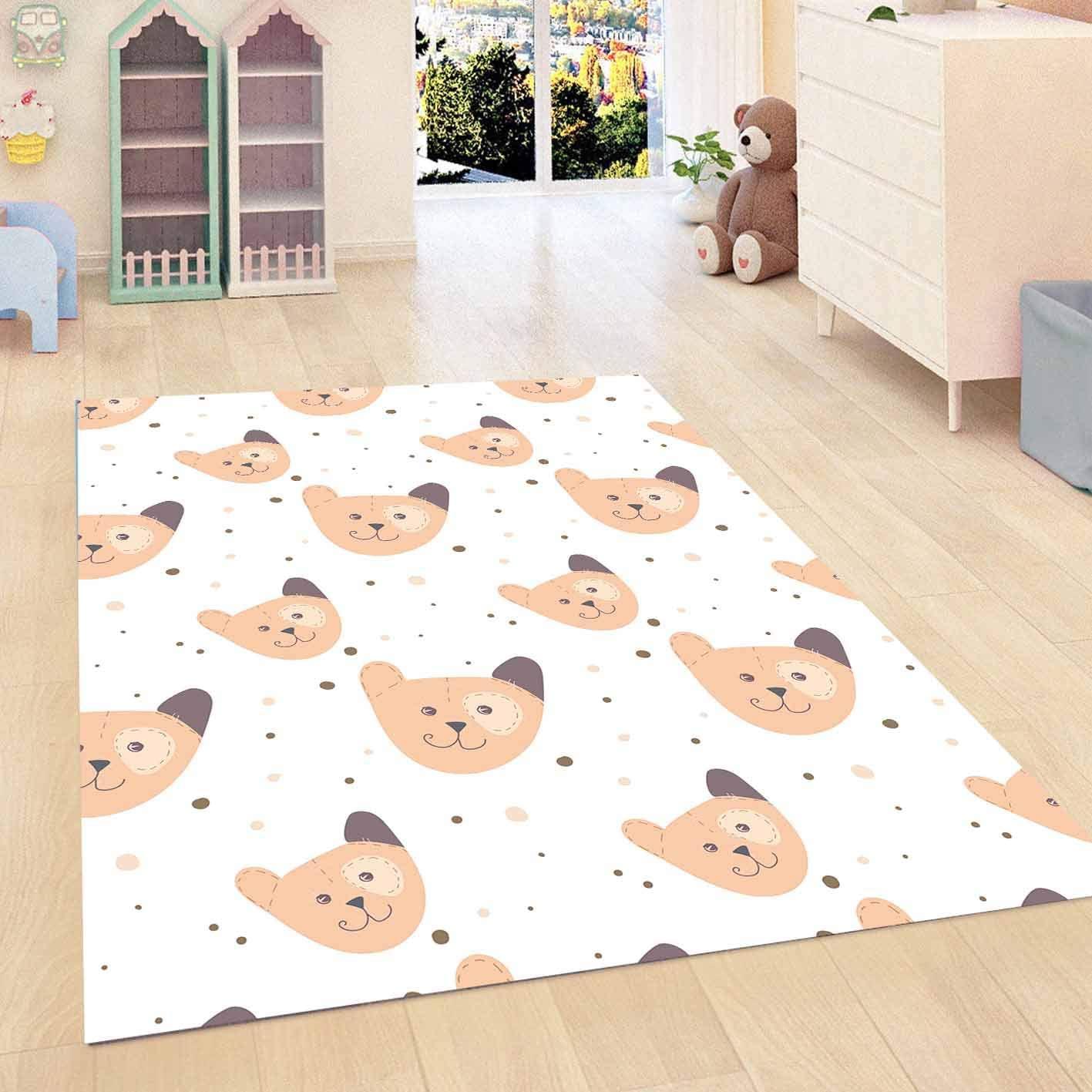 Else Brown Teddy Bears Animals 3D Pattern Print Non Slip Microfiber Children Kids Room Decorative Area Rug Kids Game Mat