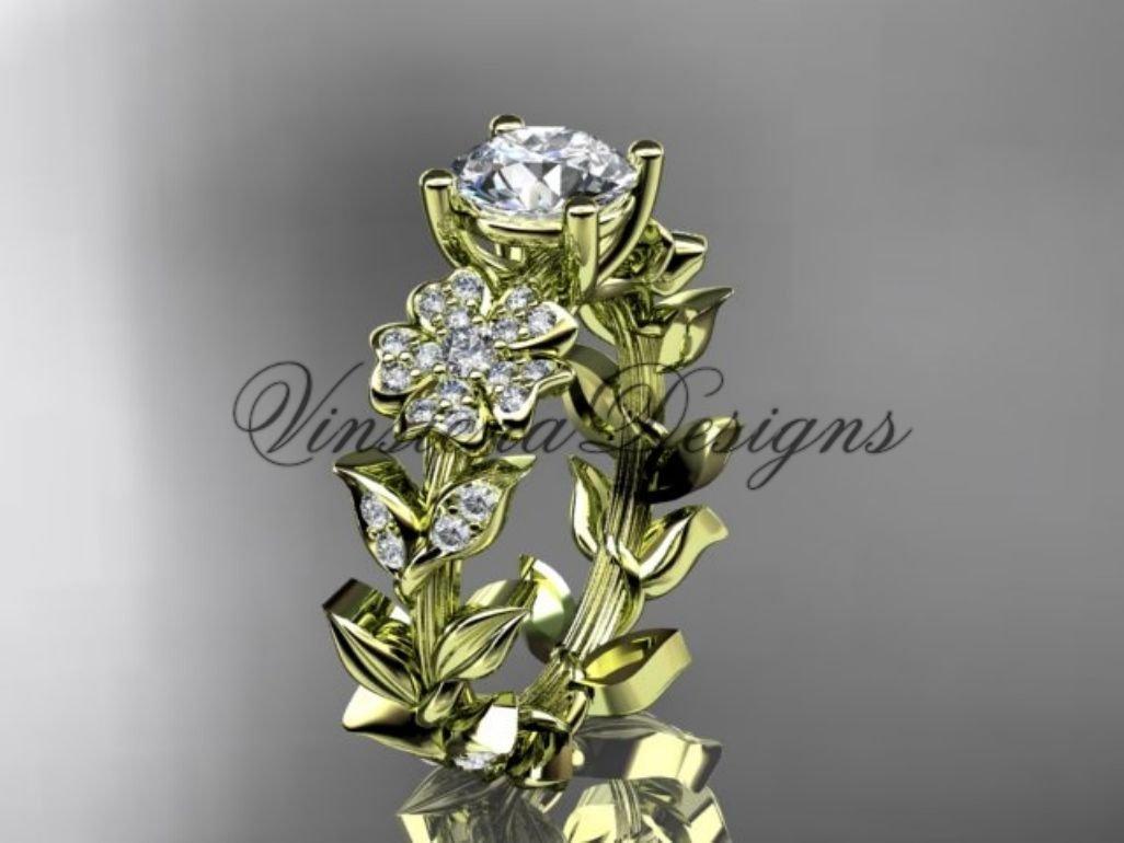 14kt yellow gold diamond leaf and vine, Cherry Blossom flower, Sakura engagement ring Moissanite VD8215