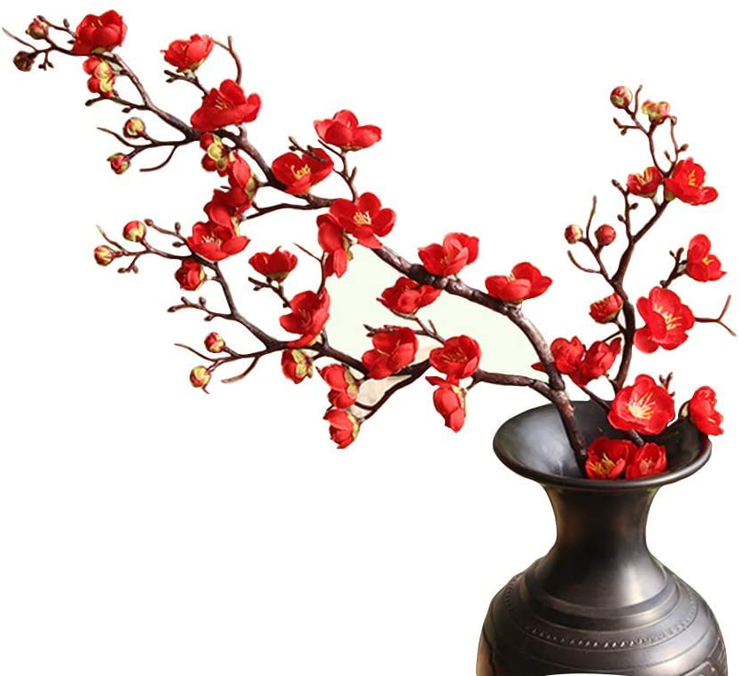 "FightingFly 4Pcs Artificial Cherry Blossom Flowers, 37"" Plum Blossom Peach Branches Silk Tall Fake Flower Arrangements for Home Wedding Centerpieces Decoration, Red"
