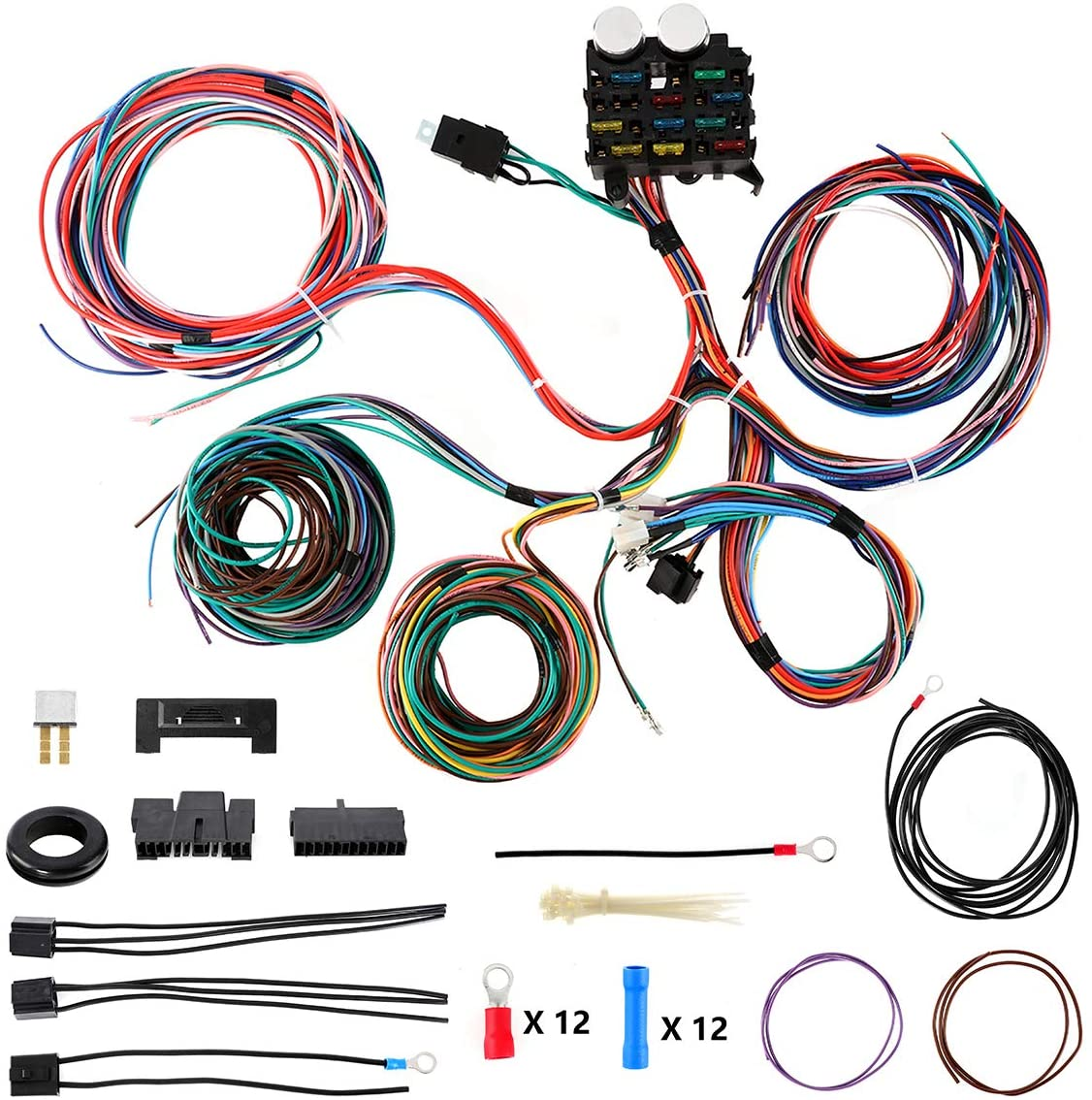 Partol Wiring Harness Kit 12 Circuit Hot Rod Universal Long Wires Wiring Harness Muscle Car Hotrod Street Rod w/Detailed Instructions