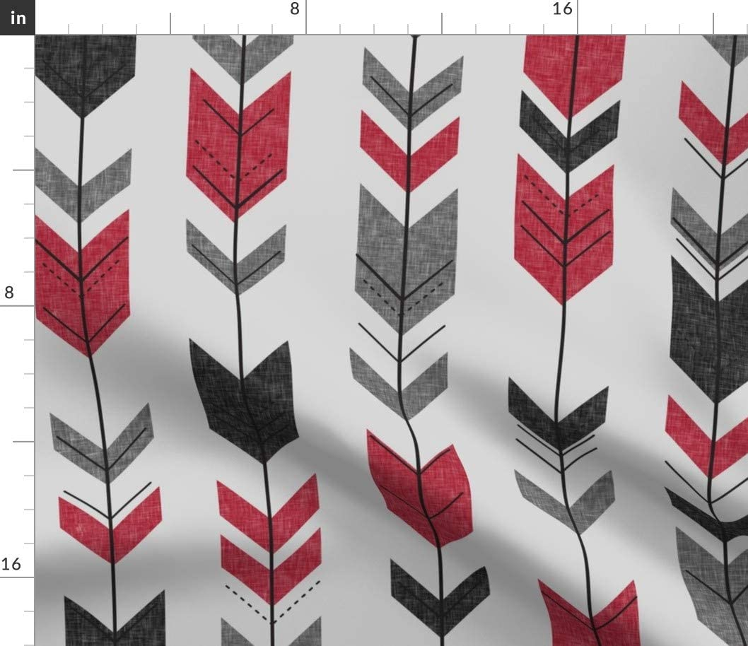Spoonflower Fabric - Fletching Arrows Happy Camper Red Grey Gray Tribal Chevron Printed on Fleece Fabric by The Yard - Sewing Blankets Loungewear and No-Sew Projects