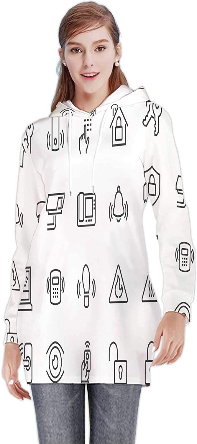Line Home Security Icons,Women's Sweatshirt Casual Long Sleeve Pullover Hoodie Dress S