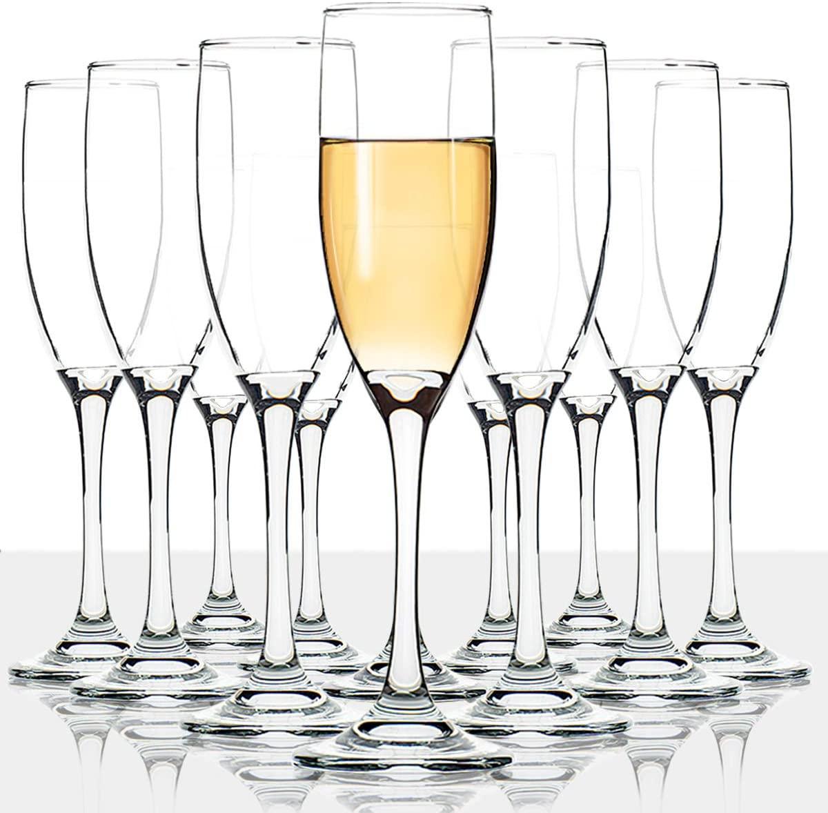 UMI UMIZILI Classic Champagne Flutes, Set of 12, 6 oz, Premium Stemmed Glasses, Sparkling Wine Glass, Clear