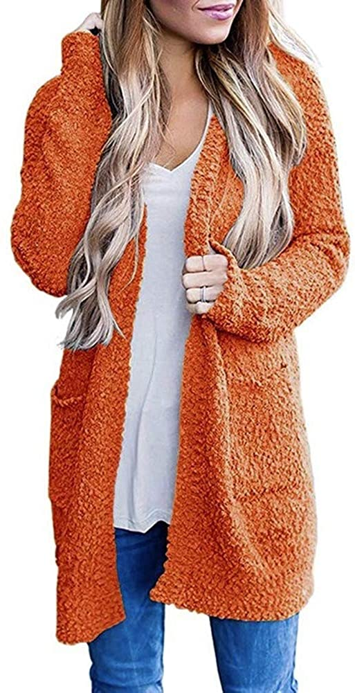Women's Long Sleeve Soft Knit Sweater Open Front Cardigan Outwear with Pockets