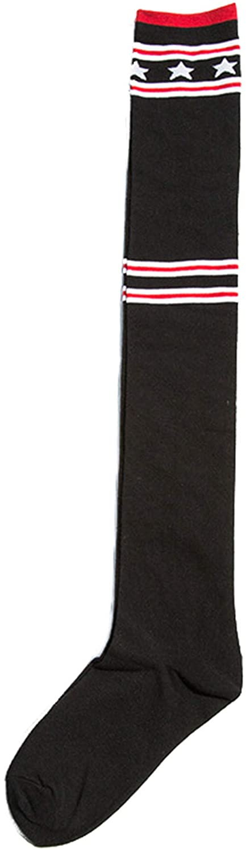 Soluo Women Cable Knit Cotton Long Knee High Socks Retro Striped Trim Long Knee Tube Sock Athletic Sport Socks