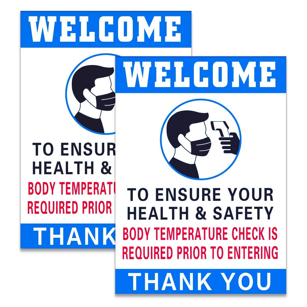 SICOHOME Body Temperature Check Required Sign, 2pcs Temperature Check Station Sign,7