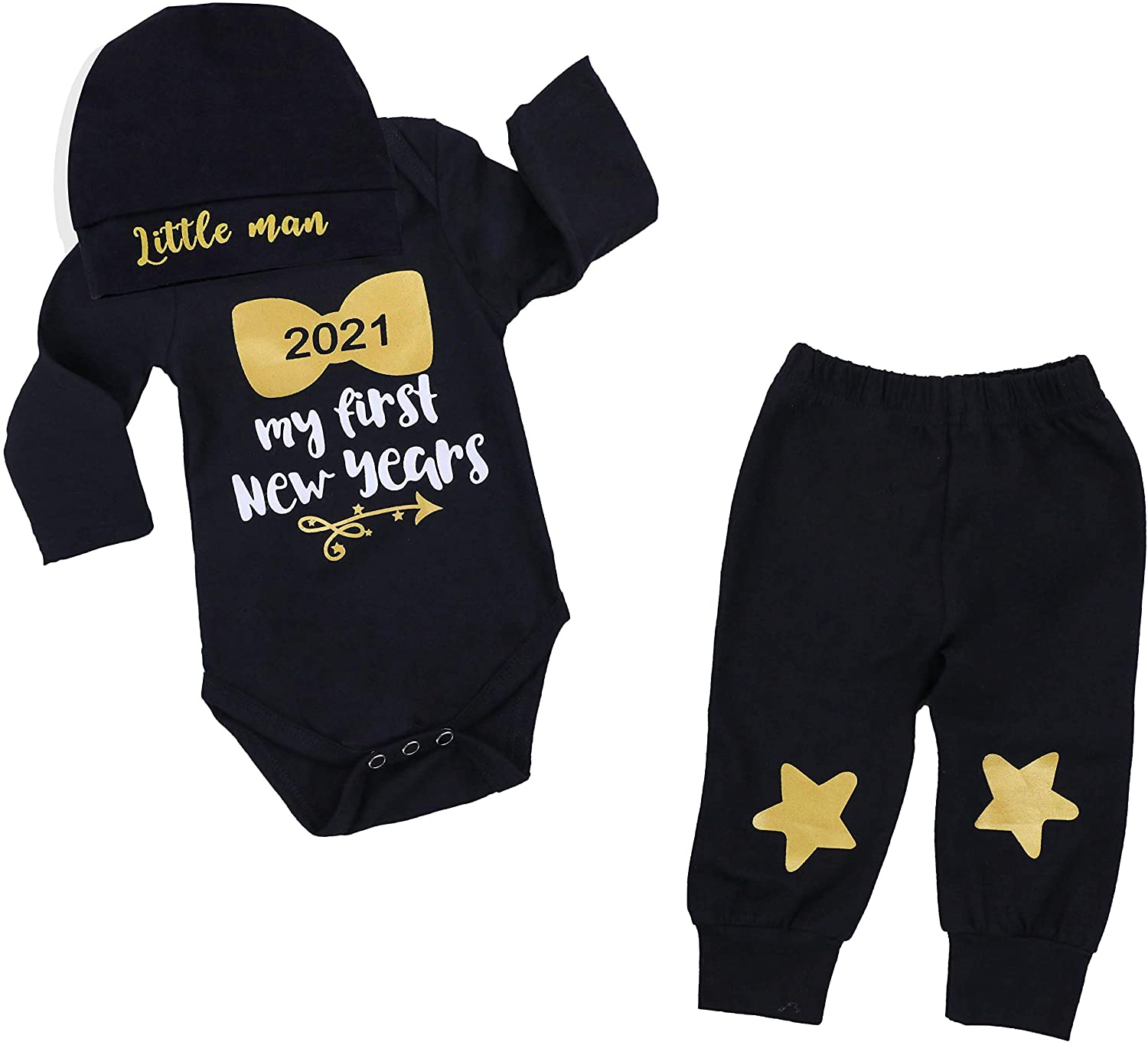 Newborn Baby Boy 1st New Year Clothes 2021 My First New Year Romper + Cute Star Pants + Little Man Hats 3PCS Outfit Set