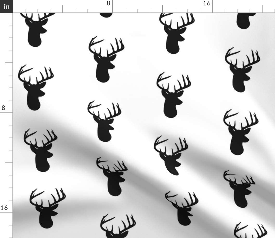 Spoonflower Fabric - Black Deer Antler Head Buck Moose Silhouette Nursery Gender Neutral Printed on Organic Cotton Sateen Fabric by The Yard - Sewing Quilting Apparel Home Decor
