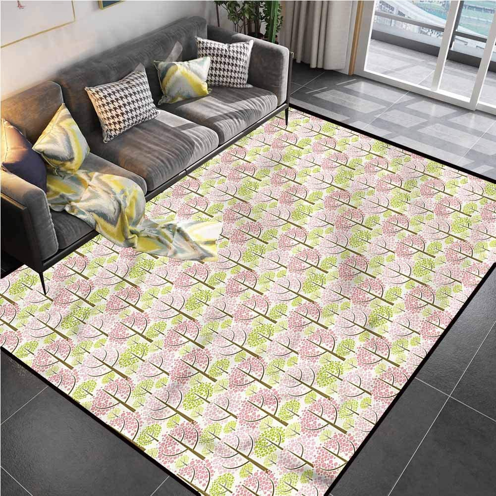 Area Rugs Print Large Carpet Tree,Japanese Cherry Blooms Office Chair mat for Carpet for Kids Yoga Living Room Home Decor Rugs 6'x9'