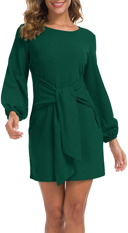 Lionstill Women's Elegant Long Sleeve Dress Casual Tie Waist Sweater Dresses