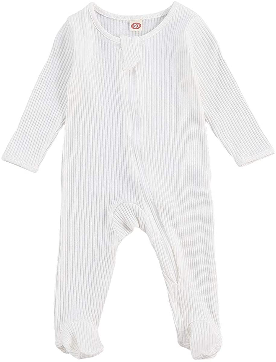 Goelsakurara Newborn Baby Boy Girl Romper Bodysuit Long Sleeve Footie Onesie Jumpsuit Ribbed Pajamas Sleepwear Outfit Clothes