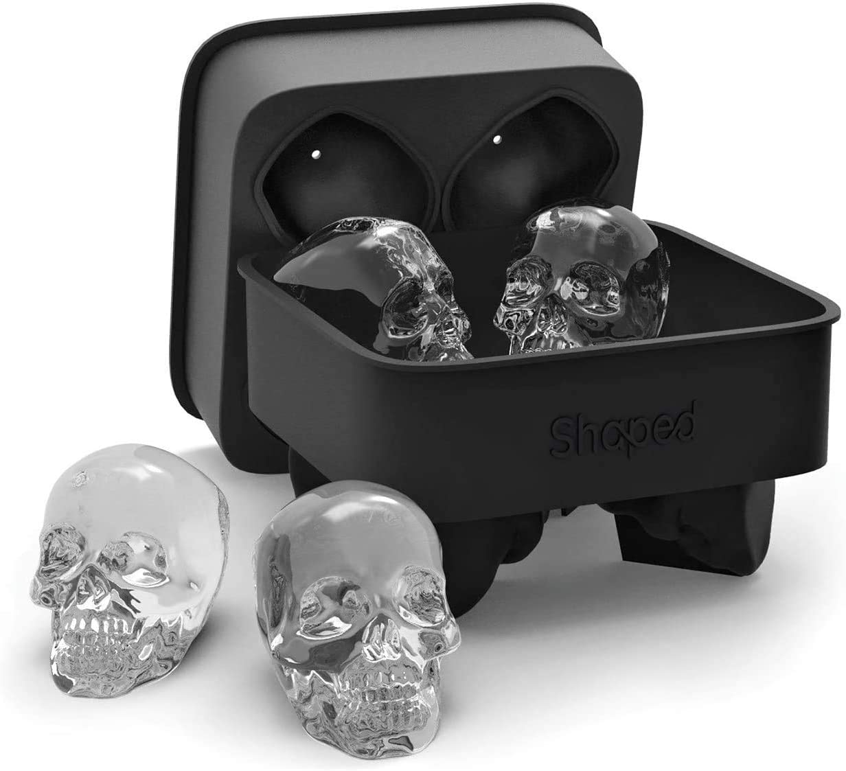 Ice Cube Trays Silicone,ice Cube Molds with Lid For Whiskey and Cocktails, Upgraded 3D Skull Ice Mold Tray with Funnel, Reusable & BPA Free