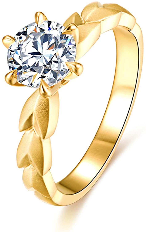 KnSam 18K Yellow Gold Ring for Womens Wheat Ear Six-Claw Inlaid Diamond Wedding Ring