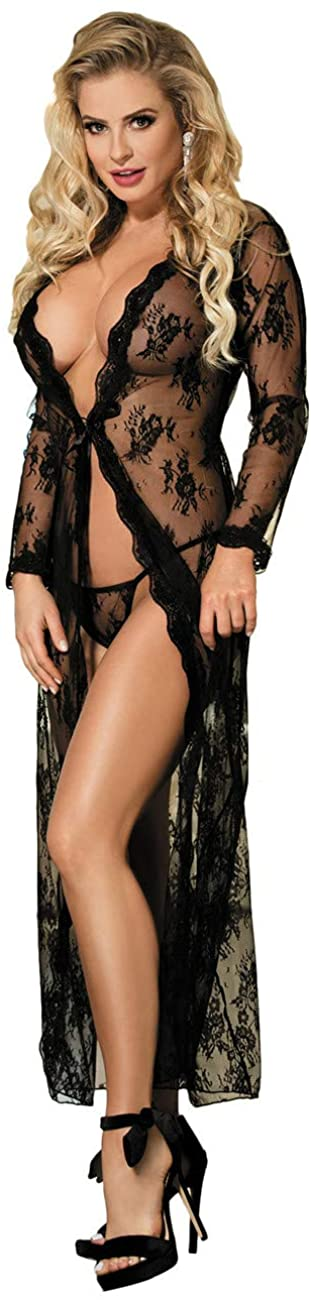 ohyeah Plus Size Lingerie for Women Lace Kimono Robe Long Gown Mesh Chemise See Thought Lingerie Swimsuit Cover Up