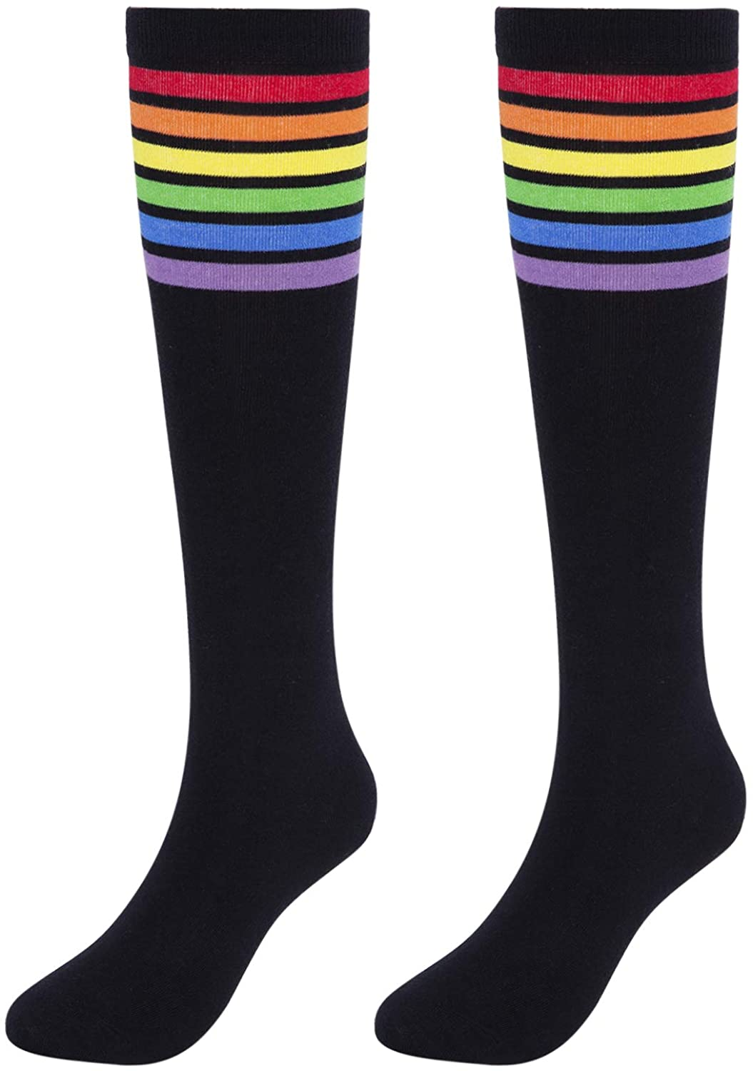 KONY Womens Cotton Colorful Striped Rainbow Knee High Socks 1/3 Pairs, Comfortable Stay Up Best Gift Size 6-10