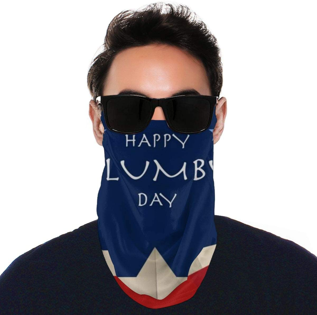 N\ A Summer Uv Balaclava Loop Face Mask Happy Columbus Day American Us Flag Star Red Large Earloop Sun Protection Neck Gaiter Face Mask Cover Bandanas for Men Women Adults