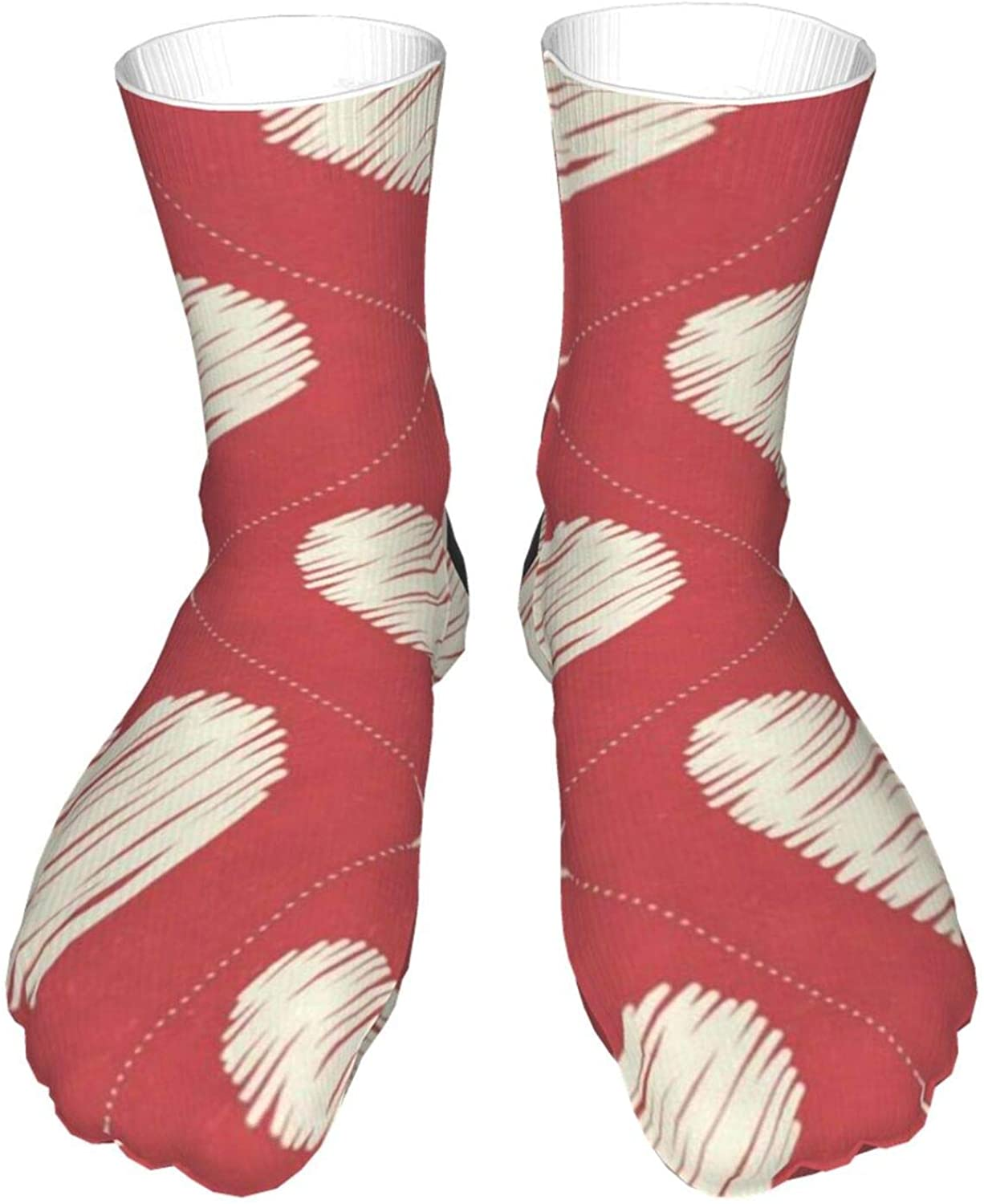 Twinkle Hearts Love Red Reto Light & Soft Eco-Friendly Casual Socks for Women and Men