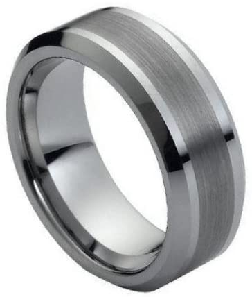 8Mm Tungsten Carbide Beveled Comfort Fit Brushed Center Unisex Wedding Band Ring