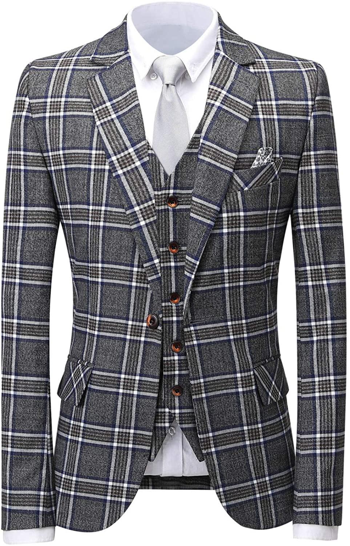 Men's 3-Piece Suit Slim Fit One Button Plaid Blazer Dress Business Wedding Party Jacket Tux Vest & Pants