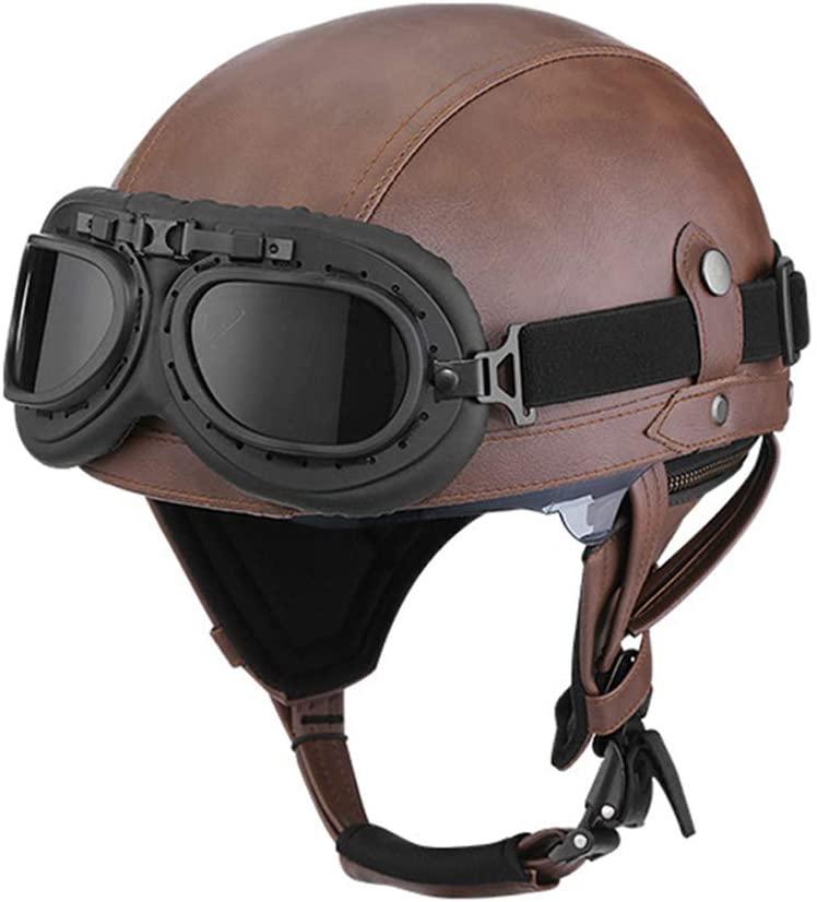JTYX Motorbike Jet Helmet Open Face Crash Chopper Cruiser Half Helmet Motorcycle Helmet with Sun Visor for Adult Men Women