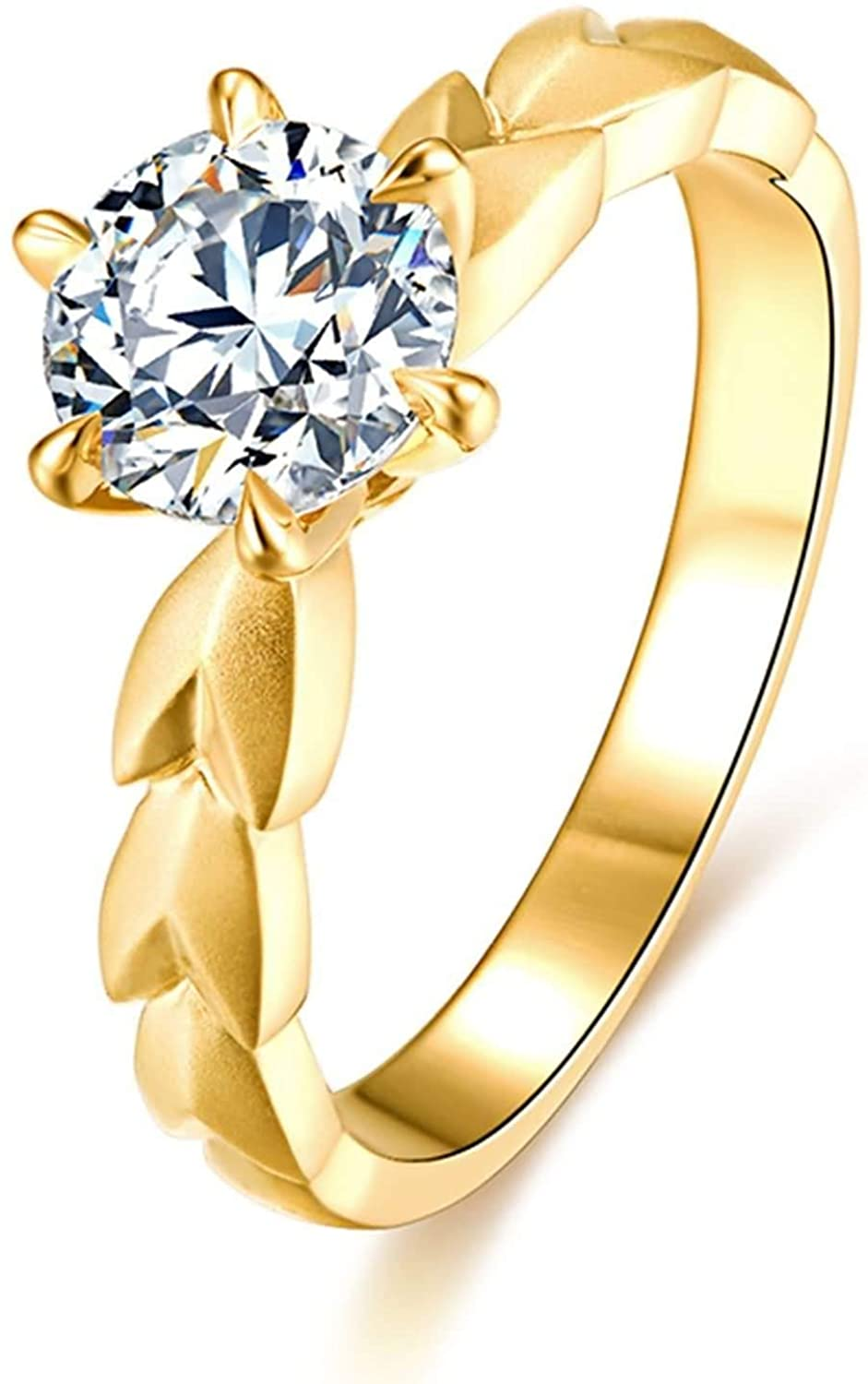 Aokarry Women's 18K Yellow Gold Engagement Ring Wheat Ear Six-Claw Inlaid Diamond Size 8