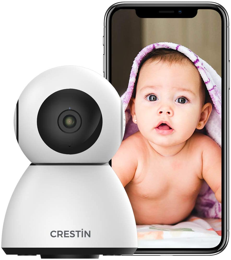 Security Camera CRESTIN IP Camera 1080P HD, Baby Motion, WiFi Home Indoor Camera for Baby/Pet/Nanny, Motion Detection, 2 Way Audio Night Vision, Compatible with Alexa