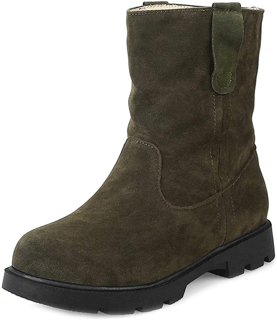 MISTU Women's Casual Flat Martin Ankle Boots Round Toe Cowboy Slip-On Bootie Comfy Daliy Walking Short Boot