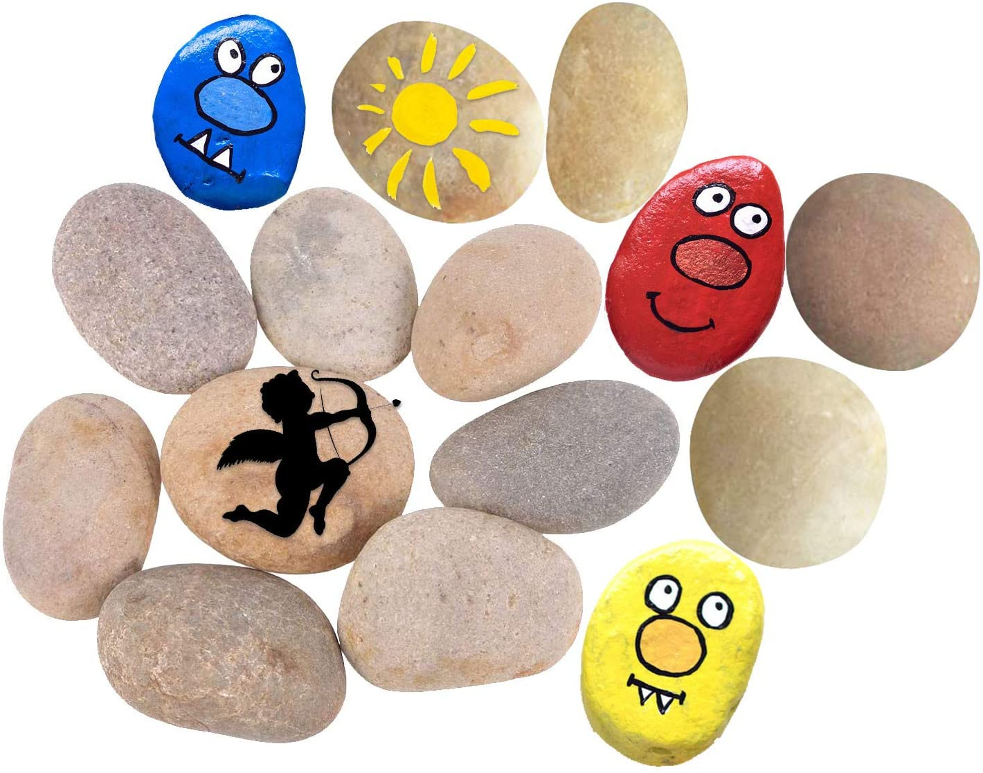 15PCS Painting Rocks, DIY Rocks Flat Smooth Kindness Rocks for Arts, Crafts, Decoration, 1.6