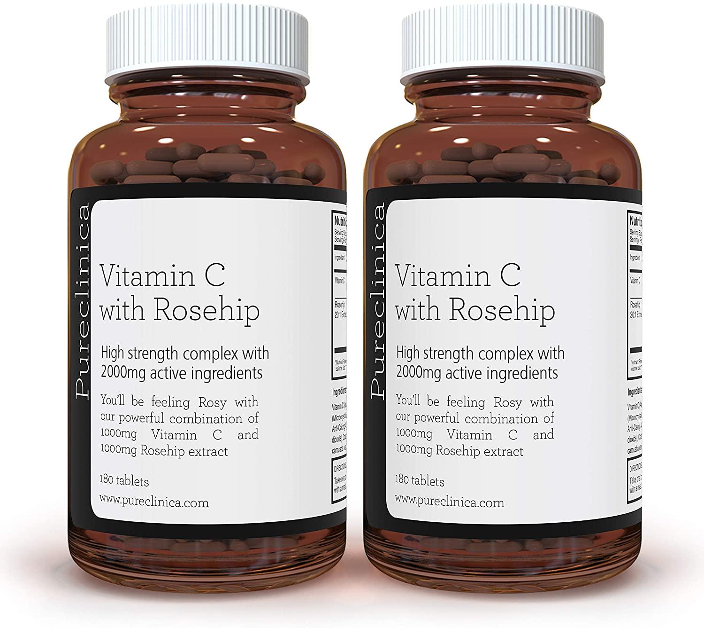 Vitamin C with Rosehip – 2000mg (1000mg VIT C & 1000mg Rosehip Extract) x 360 Tablets – 1 Years Supply! SKU: ROSEC3x2
