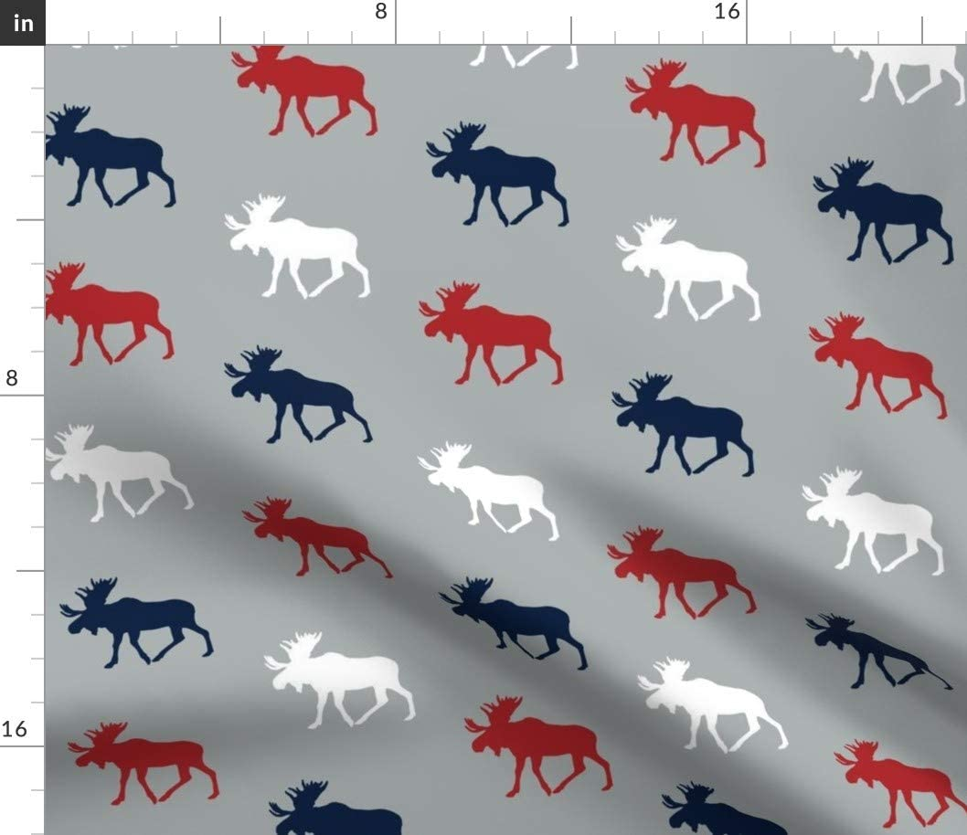 Spoonflower Fabric - Multi Moose Grey Collection Navy Red Baby Woodland White Printed on Organic Cotton Sateen Fabric by The Yard - Sewing Quilting Apparel Home Decor