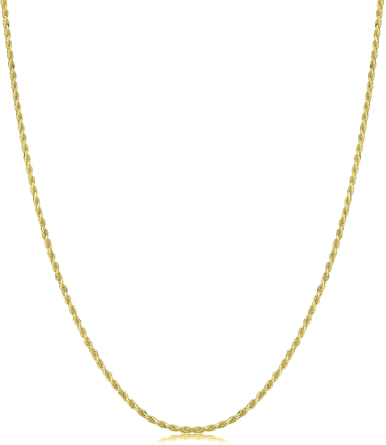18K Gold 1.5MM Diamond Cut Rope Chain Necklace, 18K Gold Rope Chain, 18K Gold Necklaces,18K Gold Chain Gold Dainty Necklace, Real 18K Gold Chain, 16-30