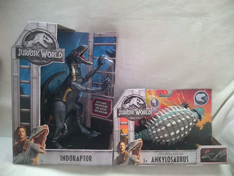 Jurassic World Movie Authentic Posability Lifelike Indoraptor Dinosaur New in Unopened Box & Roarivores Ankylosaurus Electronic Dinosaur (Push Button for Sound & Tail Striking Action!) Age 3+