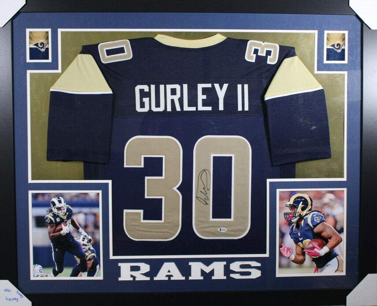 Todd Gurley Autographed Los Angeles Rams Framed Blue XL Jersey BAS 11014 - Autographed NFL Jerseys